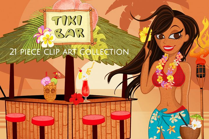 Luau Clip Art Graphics Set