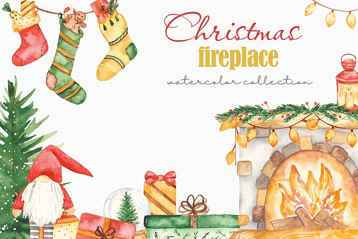 Christmas fireplace watercolor collection clipart