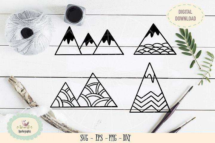 4 mountains bundles SVG PNG
