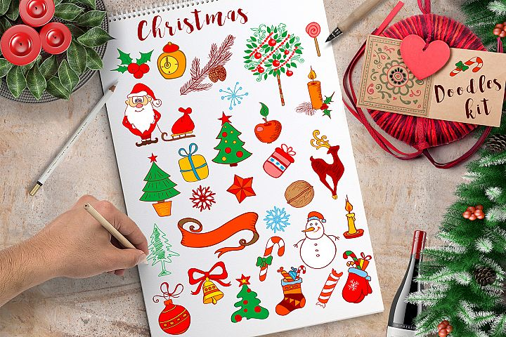 Christmas Doodle Design Elements