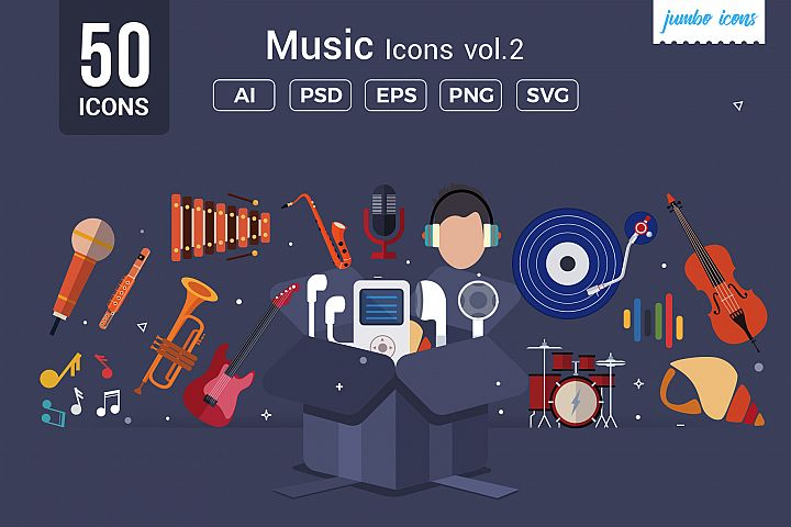 Flat Vector Icons Music Pack V2