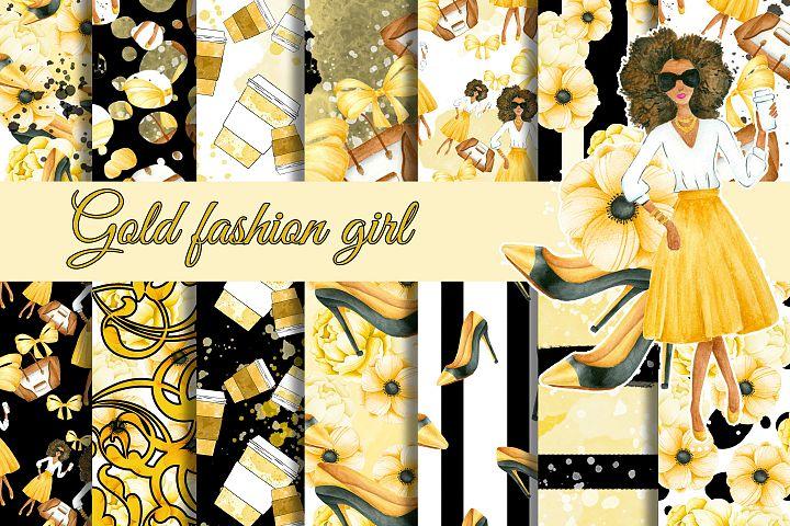 Gold fashion girl paper