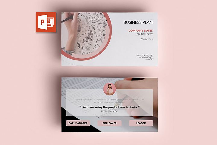 PPT Template | Business Plan - Pink and Marble Round