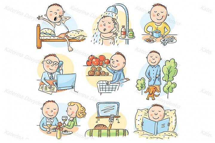 Daily activities of a cartoon man