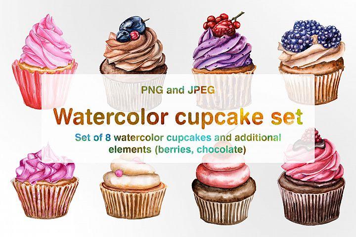 Set of watercolor cupcakes