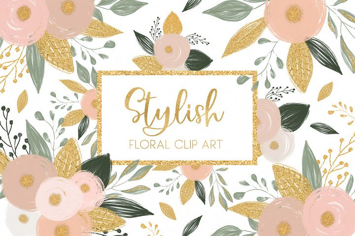 Stylish Flowers Clip Art