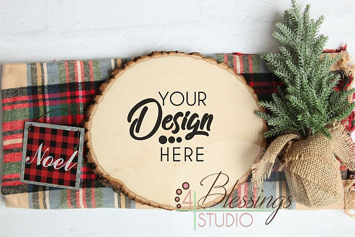 Round Wood Slice Sign with Bark Edges Mockup Photo Christmas