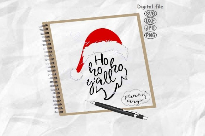 Ho Ho Ho Yall Svg, Christmas Svg, Santa Hat Svg,Santa Beard
