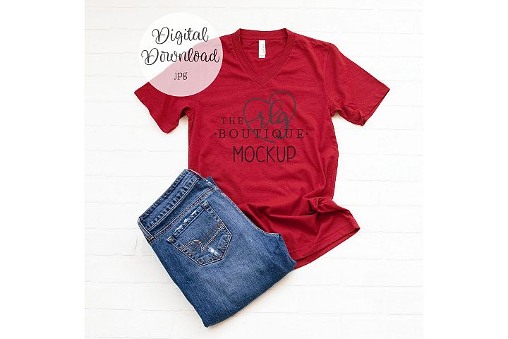 Red 3005 Bella Canvas shirt mockup 2