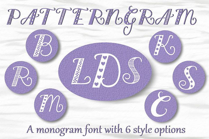 Patterngram - Monogram font with 6 style options