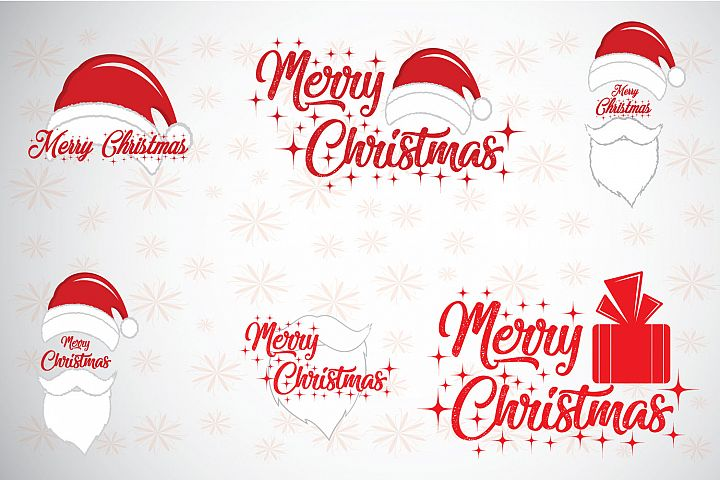 Christmas and new year background icons set.