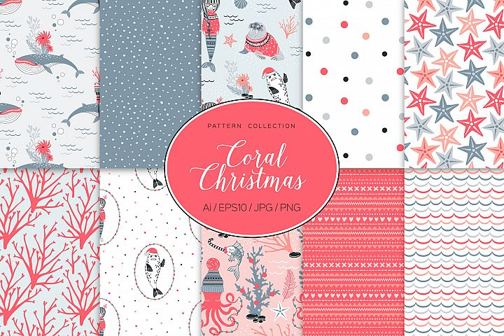 Coral Christmas pattern collection with underwater creatures