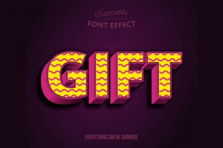 Gift text, editable text effect