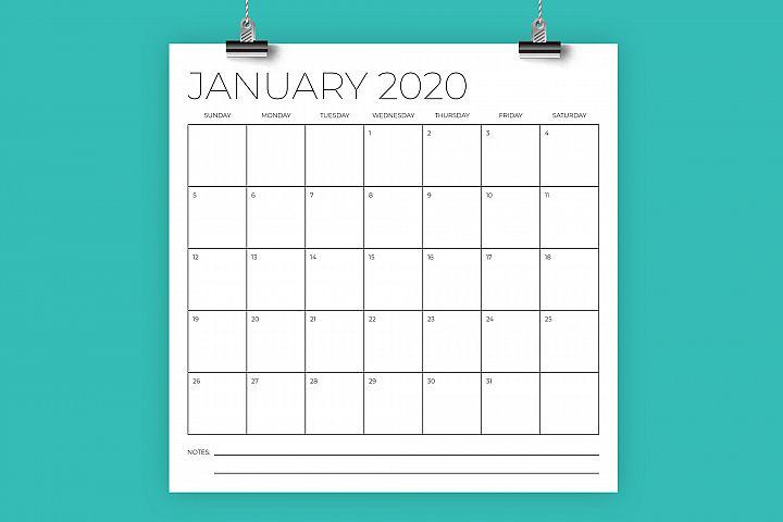 12 x 12 Inch Minimal 2020 Calendar