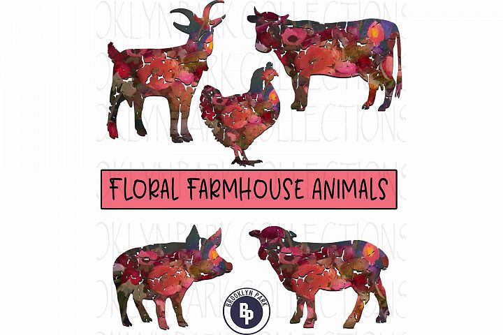 Farm Animals, Floral Pattern, Bundle, Clip Art, Print,