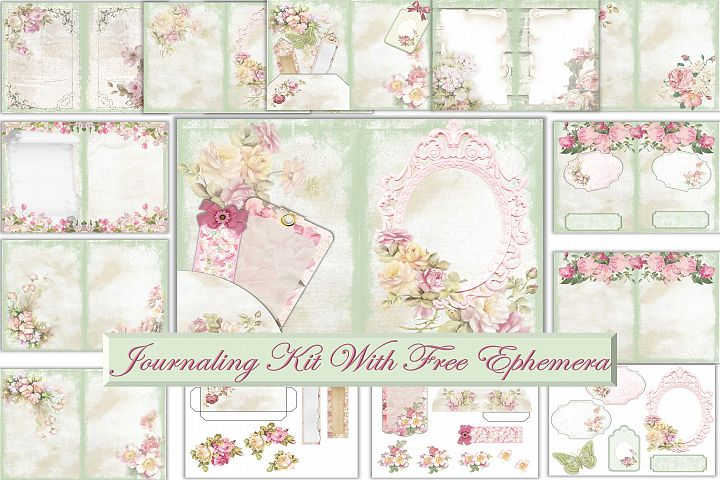 Printable Journal Kit. Shabby Chic Grunge with FREE Ephemera