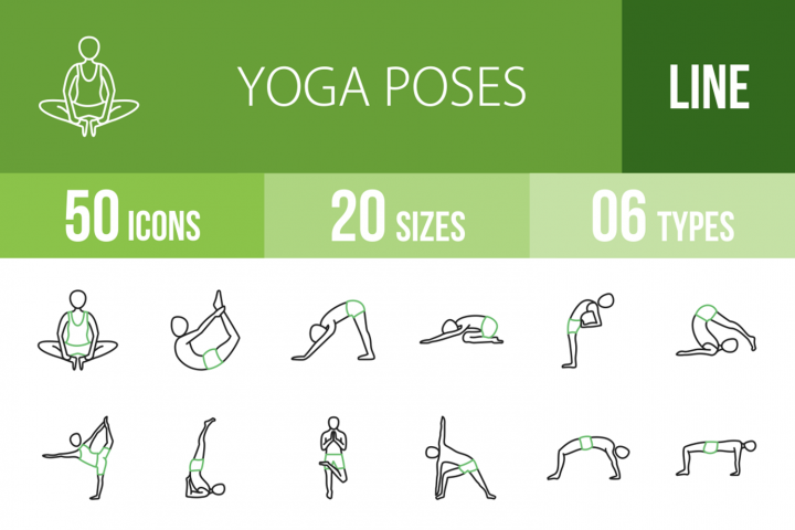 50 Yoga Poses Line Green & Black Icons