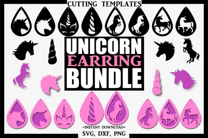 Unicorn Bundle Earrings, Silhouette, Cricut, Cut File, SVG