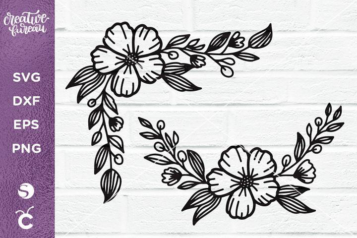 Flowers SVG, Floral Corner Svg, Floral Border Svg