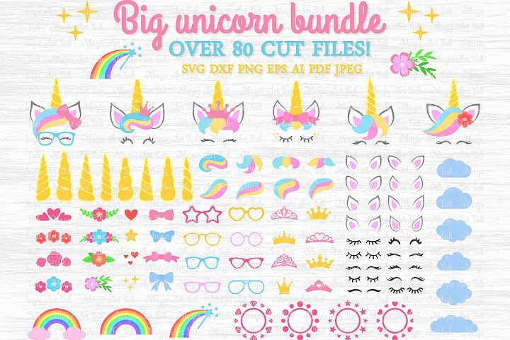 Big unicorn bundle svg, Unicorn kit svg, Unicorn clipart
