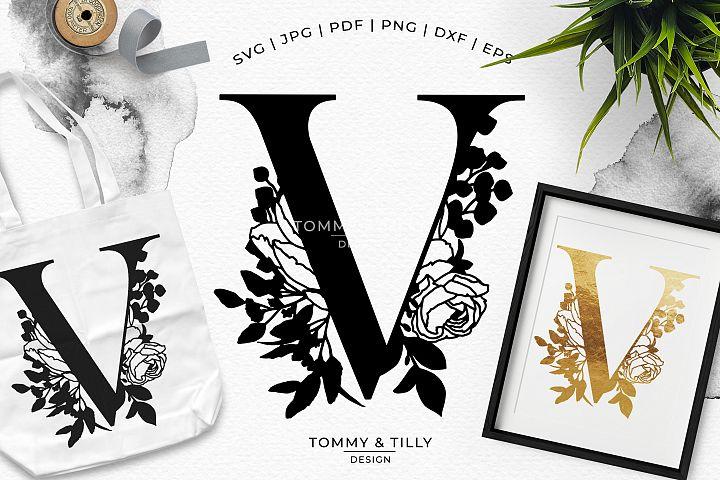 V Bouquet Letter Design - Paper Cut SVG EPS DXF PNG PDF JPG