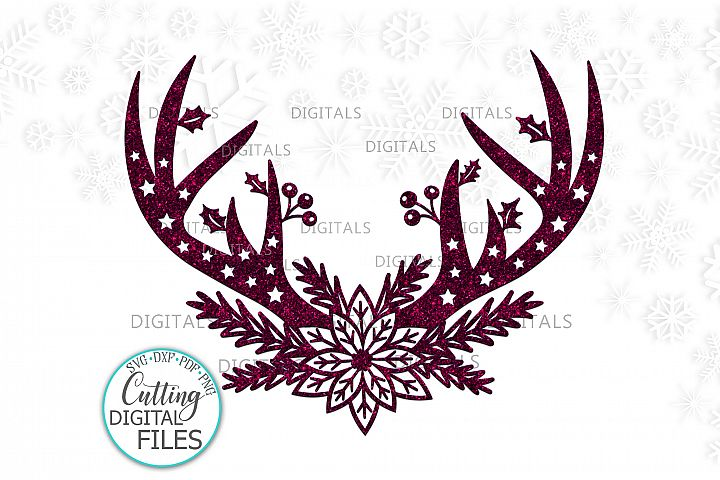 Poinsettia Floral Christmas deer antlers svg cut out file