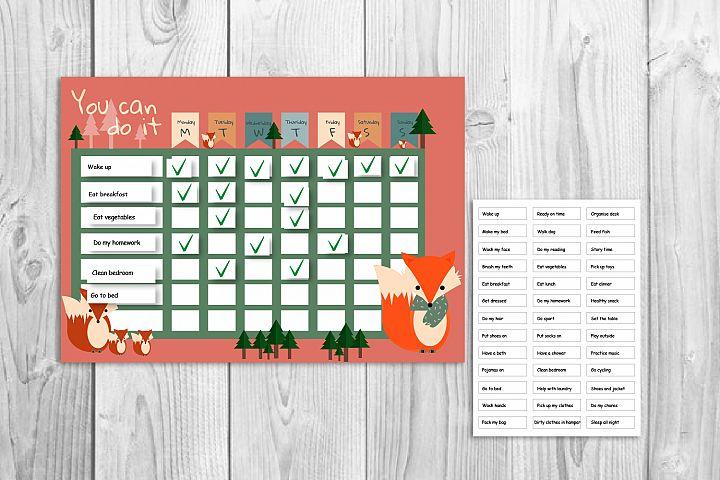 Kids reward chart, Fox graphic, Fox and forest