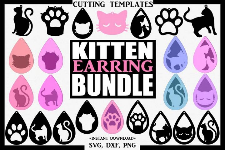 Cat Bundle Earrings, Silhouette, Cricut, Cut File, SVG DXF