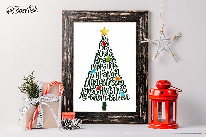 Christmas tree, with Christmas words and light bulbs