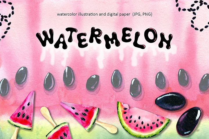 Watermelon. Watercolor illustration. Digital paper, elements