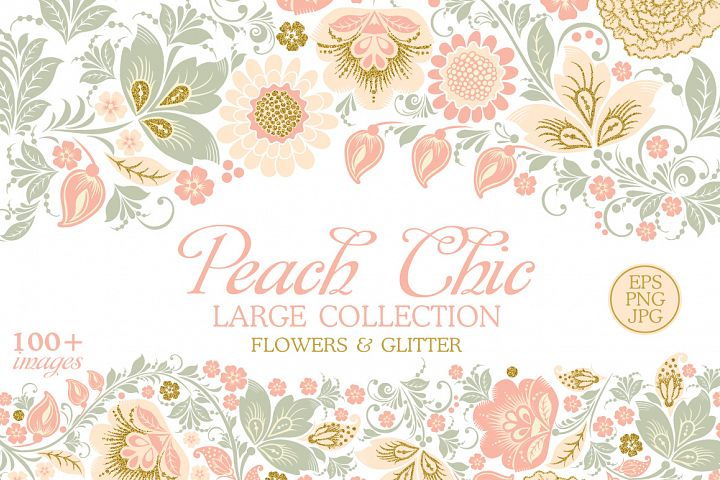 Glitter Floral Peach chic collection. 50% off