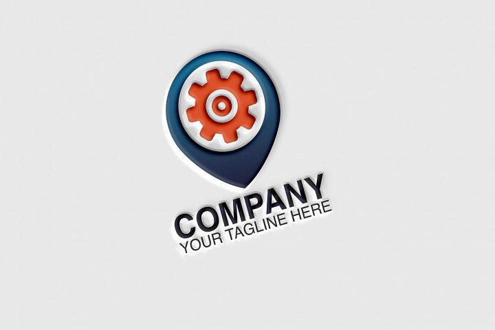 Gear, Locator Vector Logo Template