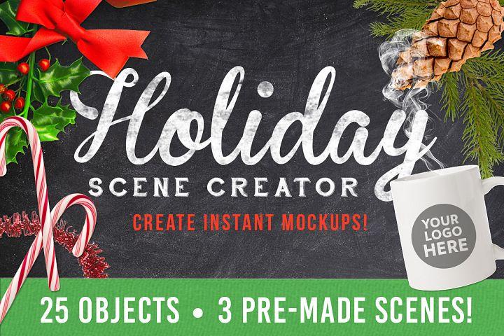 Christmas Holiday Mockup Scene Creator