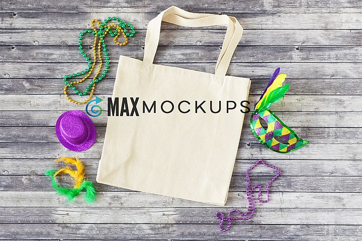 Canvas tote mockup, shopping bag, Mardi Gras flatlay