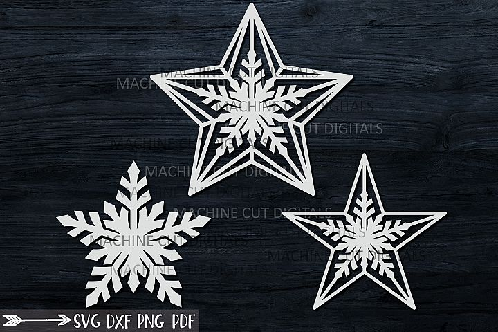 Christmas star set decoration for Christmas tree svg laser