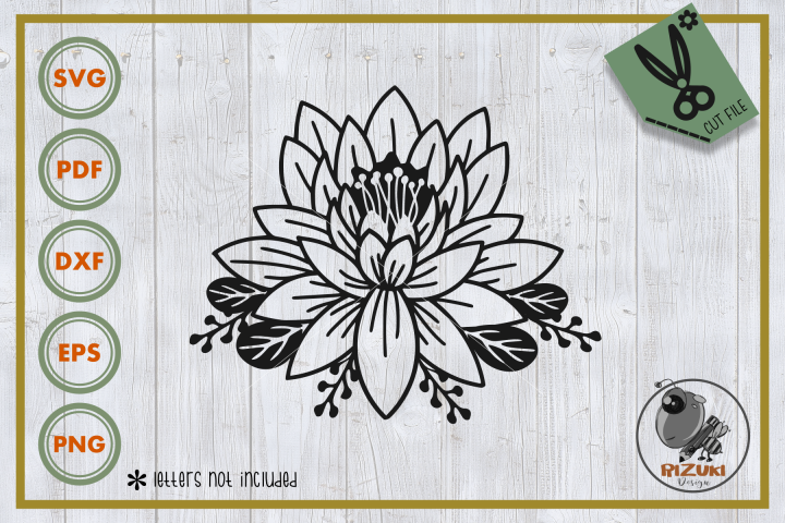 Lotus Flower svg, single flower, instant download, cut file.