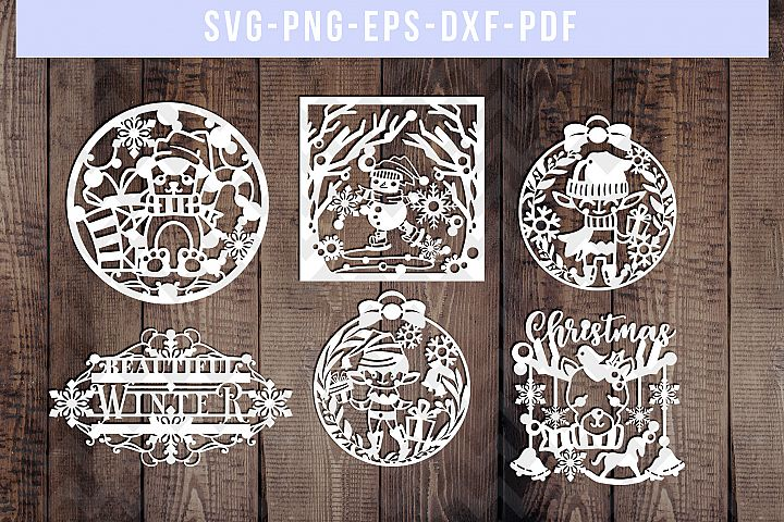 Bundle Of 6 Winter Papercut Templates, Snowman Elf SVG, PDF