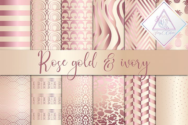 Rose Gold & Ivory Digital Paper