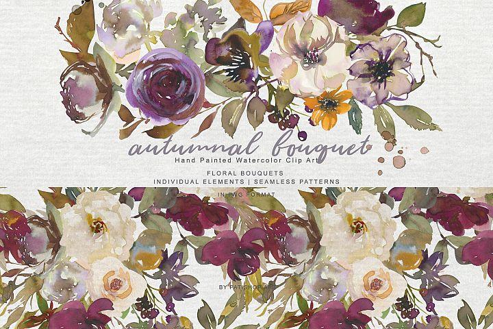 Watercolor Autumn Flowers Clipart & Patterns