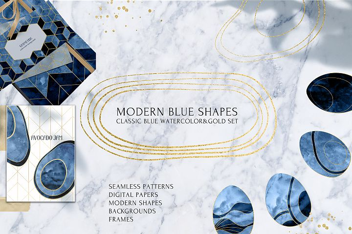 MODERN BLUE and GOLD SHAPES Watercolor Set