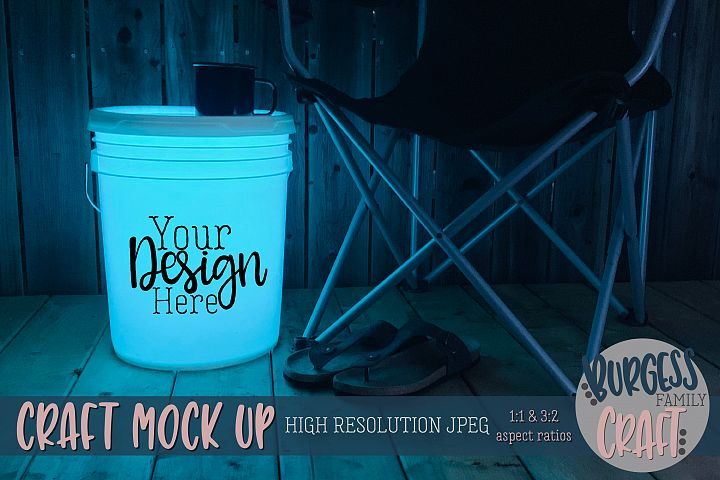 Bucket light table teal Craft mock up| High Resolution JPEG