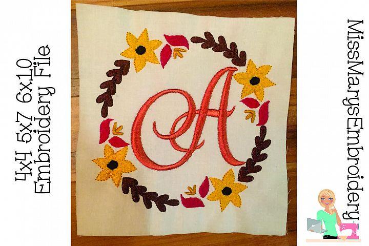 Fall Flower Monogram Embroidery Frame