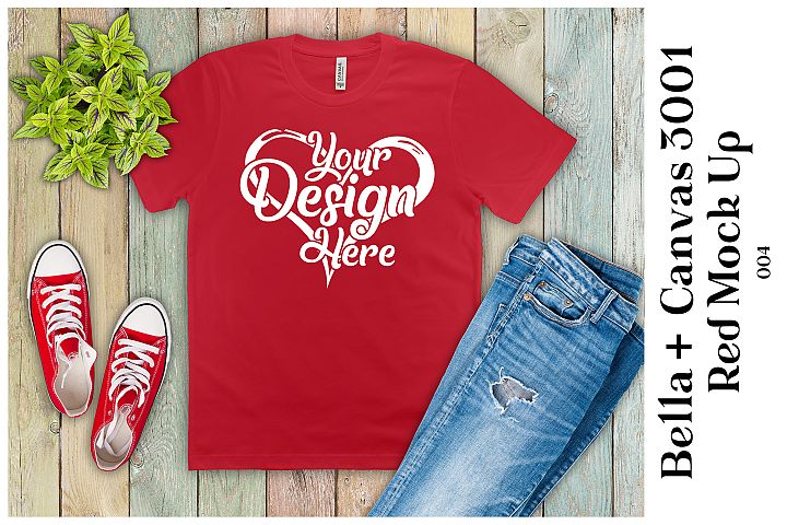 Mens T-Shirt Mockup Red Bella Canvas 3001 Mock up