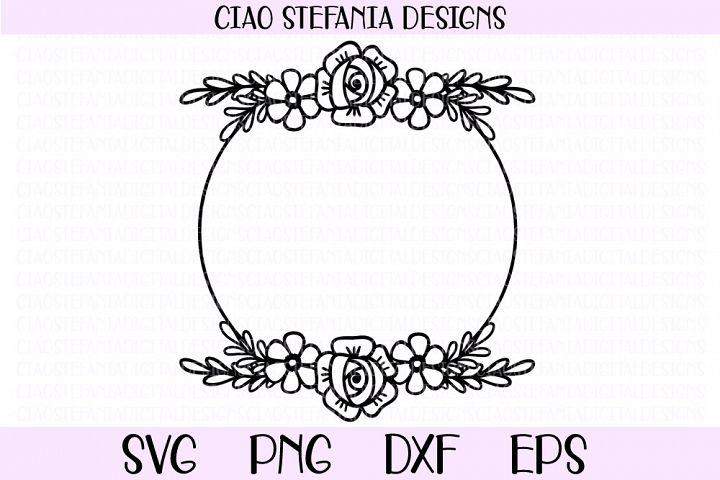 Rose Flower Wreath Circle Frame Wedding SVG Cut File