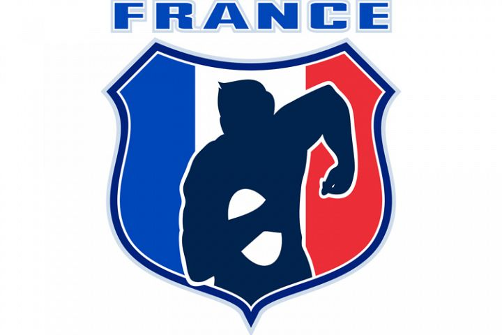 rugby player france flag shield