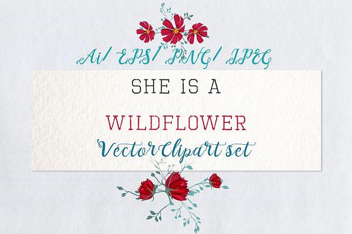 She is wildflower, vector clip art set 2