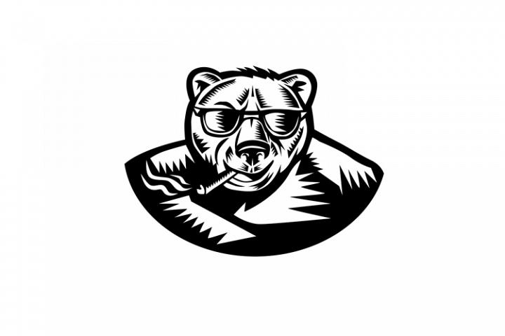 Bear Smoking Cigar Woodcut