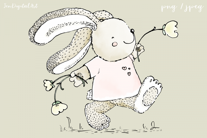 Cute Rabbit Skipping with Flowers | Clip Art Illustration