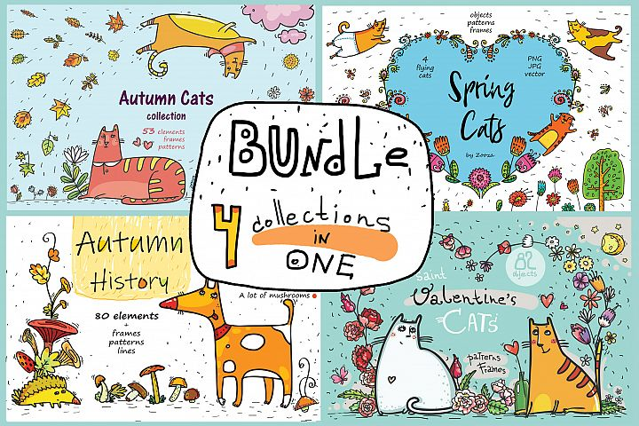 BUNDLE - 4 super collections in 1 - Cats and Dogs