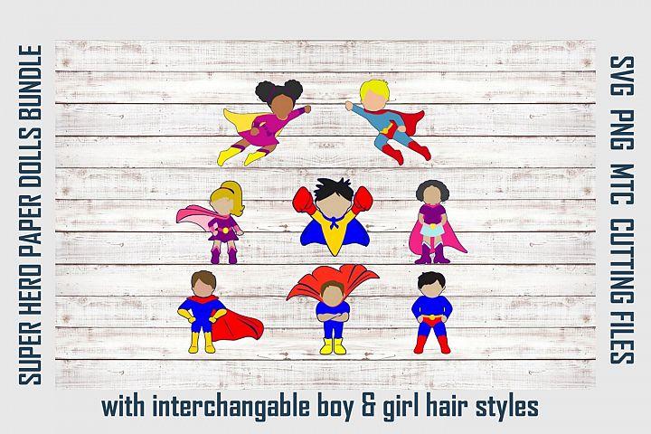 Super Hero Boy & Girl Paper Dolls SVG Cut File Bundle